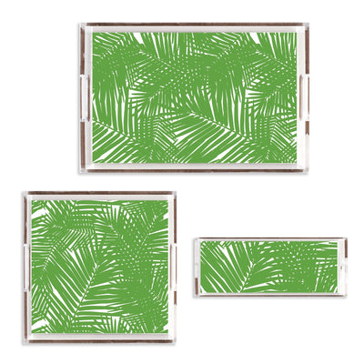 Lucite Trays 11x4 / Green Jungle Leaves Lucite Tray