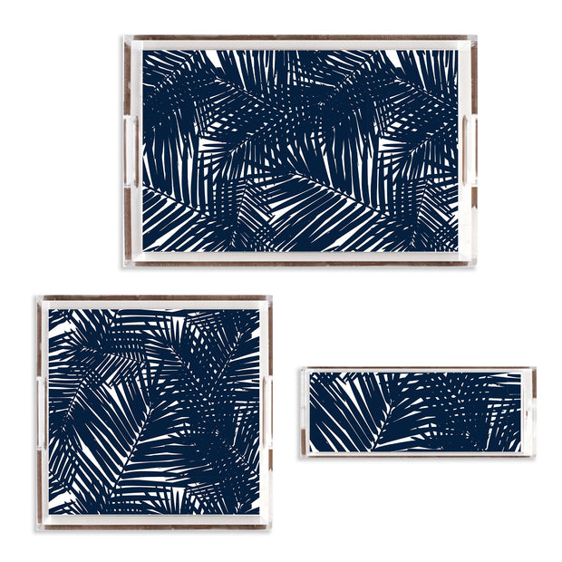 Lucite Trays 12x12 / Navy Jungle Leaves Lucite Tray