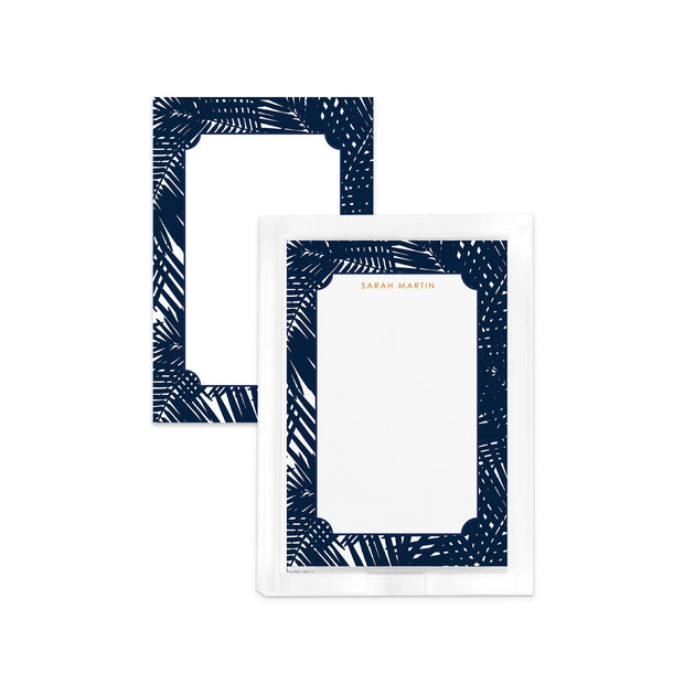 Notepad Navy / Notepad Set w/ Lucite Tray Jungle Leaves Notepad