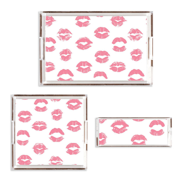 Lucite Trays 11x4 / Pink Kiss Me Lucite Tray