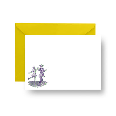 Flat Notecard Printed Notecard Mardi Gra Dancers Notecard Set