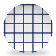 "Melamine Navy In Check 10"" Plate"