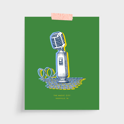 Gallery Prints Green Print / 5x7 / Unframed Nashville Microphone Print