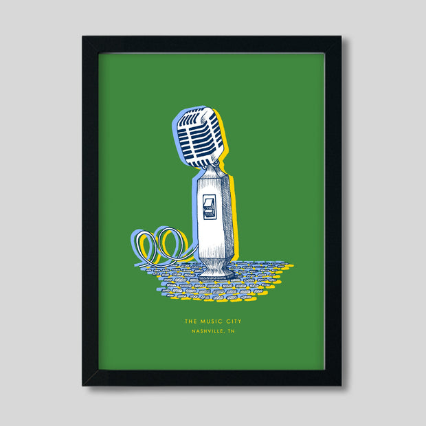 Gallery Prints Green Print / 8x10 / Black Nashville Microphone Print