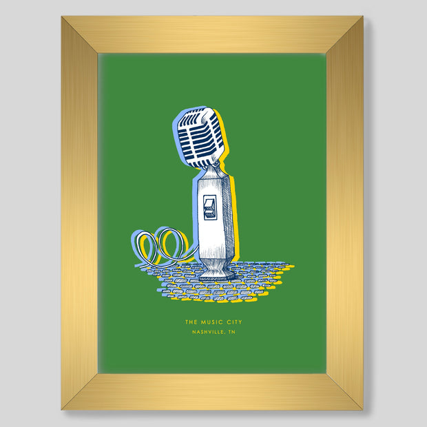 Gallery Prints Green Print / 8x10 / Gold Nashville Microphone Print