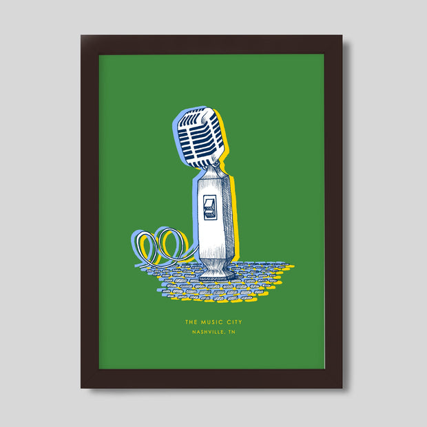 Gallery Prints Green Print / 8x10 / Walnut Nashville Microphone Print