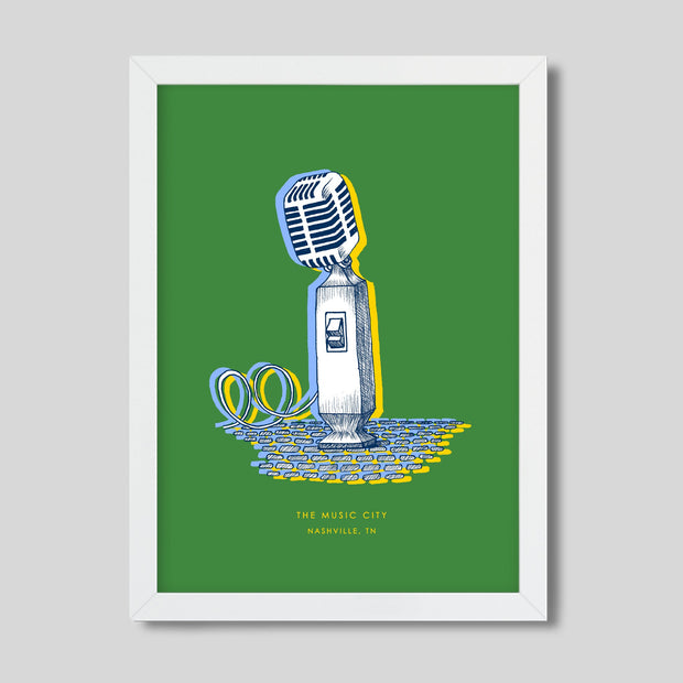 Gallery Prints Green Print / 8x10 / White Nashville Microphone Print