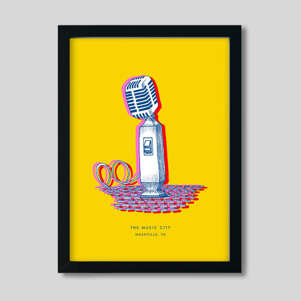 Gallery Prints Yellow Print / 8x10 / Black Nashville Microphone Print