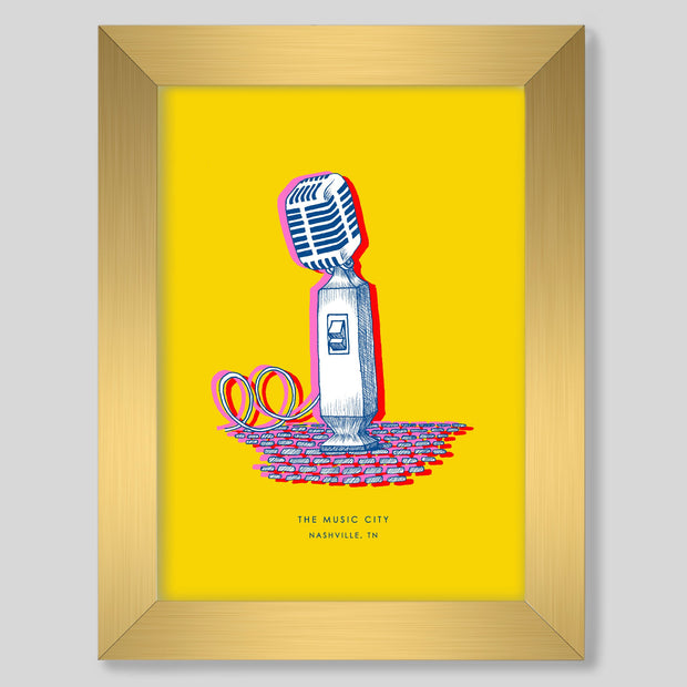 Gallery Prints Yellow Print / 8x10 / Gold Nashville Microphone Print