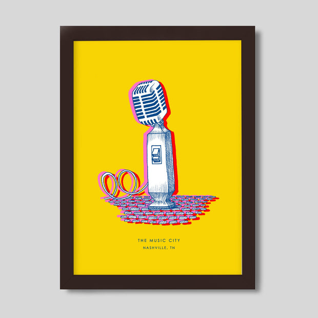 Gallery Prints Yellow Print / 8x10 / Walnut Nashville Microphone Print
