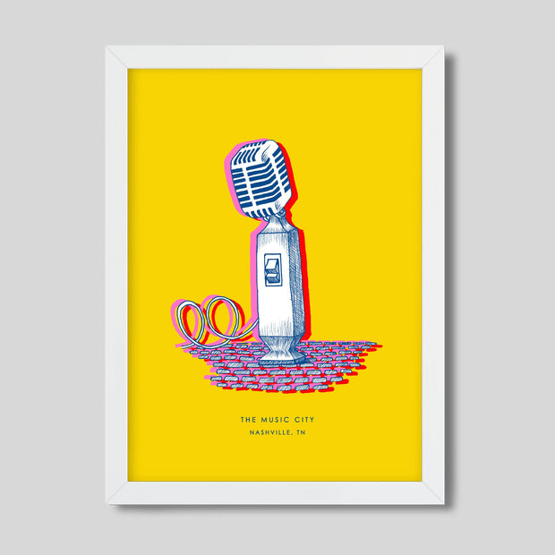 Gallery Prints Yellow Print / 8x10 / White Nashville Microphone Print