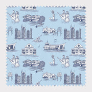 Fabric Cotton / Blue Navy / By The Yard Nashville Toile Fabric