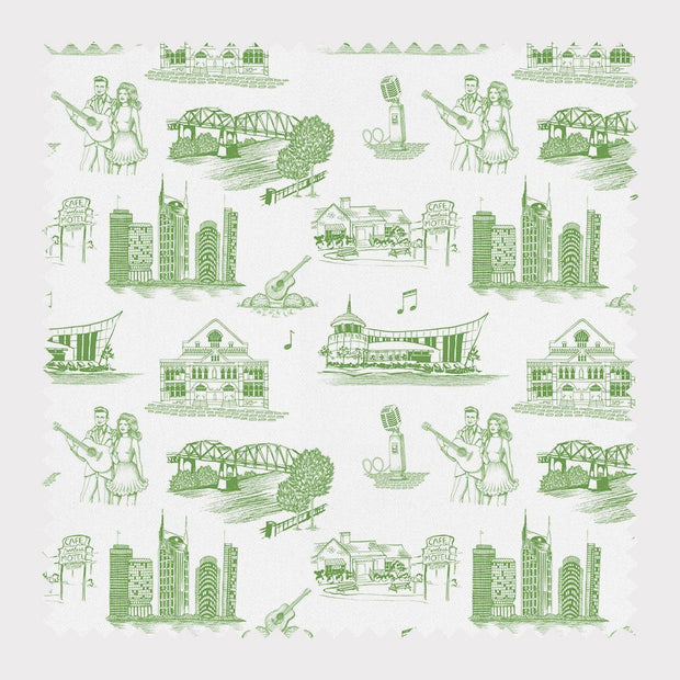 Fabric Cotton / Green / By The Yard Nashville Toile Fabric