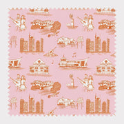 Fabric Cotton / Orange Pink Nashville Toile Fabric
