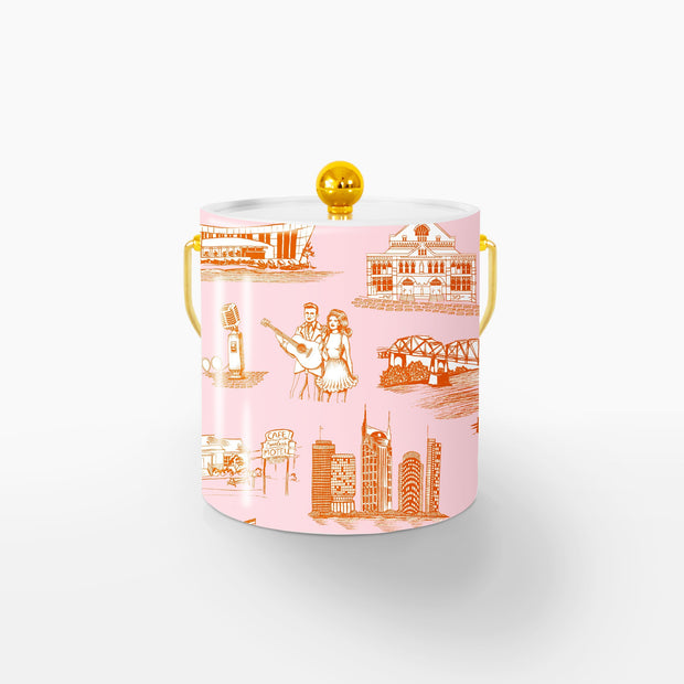 Ice Bucket Orange Pink / Gold Nashville Toile Ice Bucket