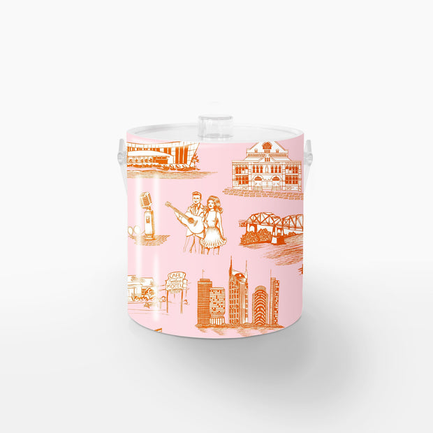 Ice Bucket Orange Pink / Lucite Nashville Toile Ice Bucket