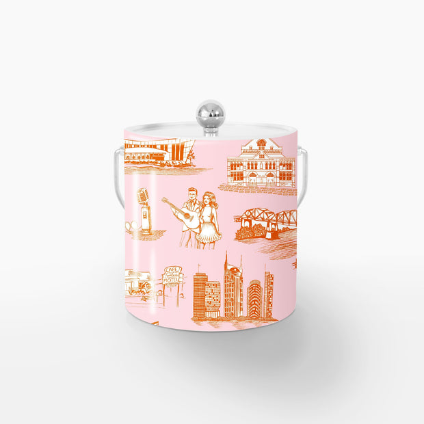 Ice Bucket Orange Pink / Silver Nashville Toile Ice Bucket