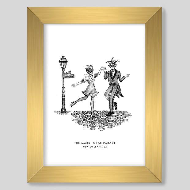 Gallery Prints Black Print / 8x10 / Gold New Orleans Mardi Gras Print
