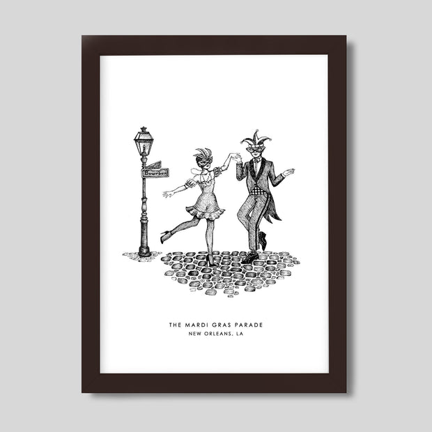 Gallery Prints Black Print / 8x10 / Walnut New Orleans Mardi Gras Print