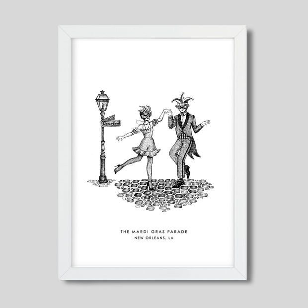 Gallery Prints Black Print / 8x10 / White New Orleans Mardi Gras Print