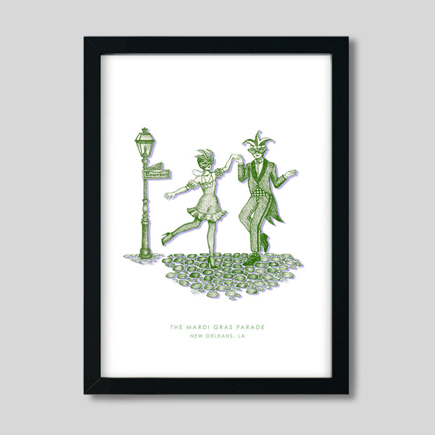 Gallery Prints Green Print / 8x10 / Black New Orleans Mardi Gras Print