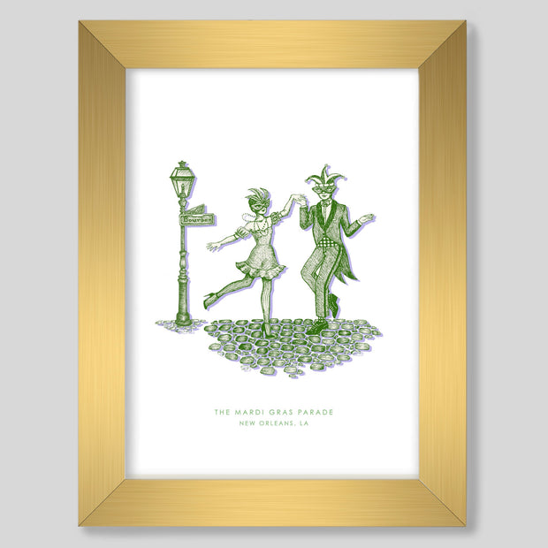 Gallery Prints Green Print / 8x10 / Gold New Orleans Mardi Gras Print