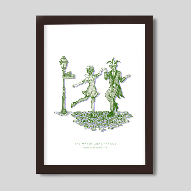 Gallery Prints Green Print / 8x10 / Walnut New Orleans Mardi Gras Print