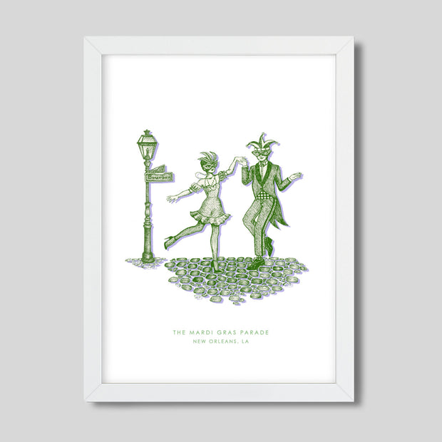 Gallery Prints Green Print / 8x10 / White New Orleans Mardi Gras Print