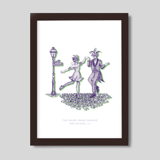 Gallery Prints Purple Print / 8x10 / Walnut New Orleans Mardi Gras Print