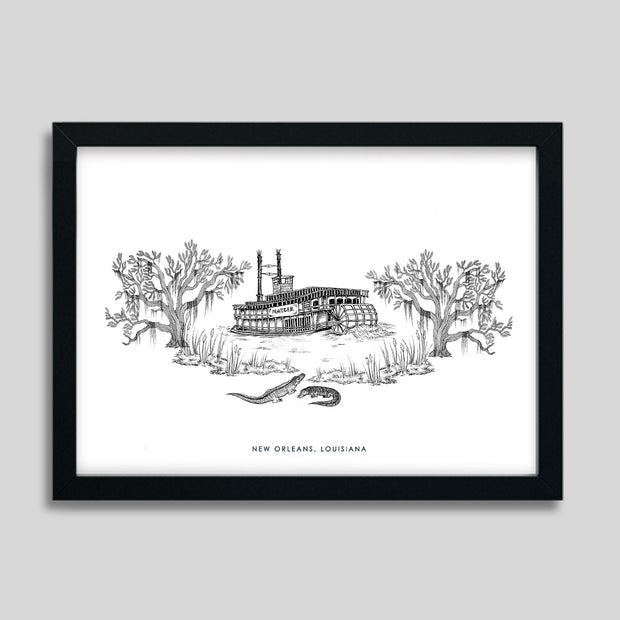 Gallery Prints Black Print / 8x10 / Black New Orleans Steamboat Print