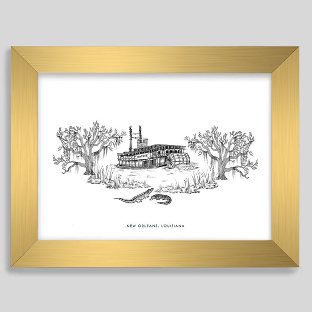 Gallery Prints Black Print / 8x10 / Gold New Orleans Steamboat Print