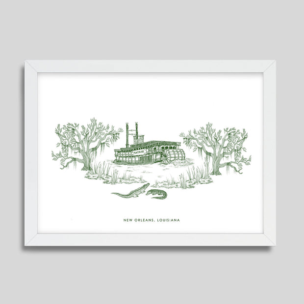 Gallery Prints Green Print / 8x10 / White New Orleans Steamboat Print