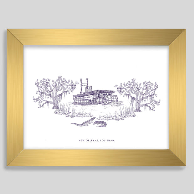 Gallery Prints Purple Print / 8x10 / Gold New Orleans Steamboat Print