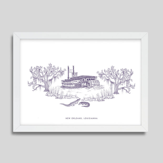 Gallery Prints Purple Print / 8x10 / White New Orleans Steamboat Print