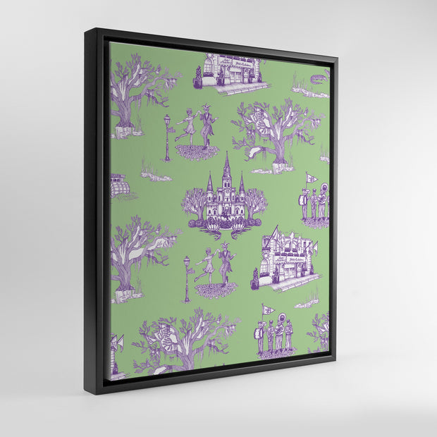 Gallery Prints Green/Lavender / 8x10 / Black New Orleans Toile Canvas