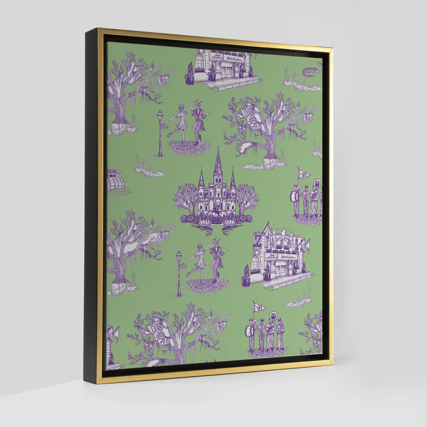 Gallery Prints Green/Lavender / 8x10 / Gold New Orleans Toile Canvas