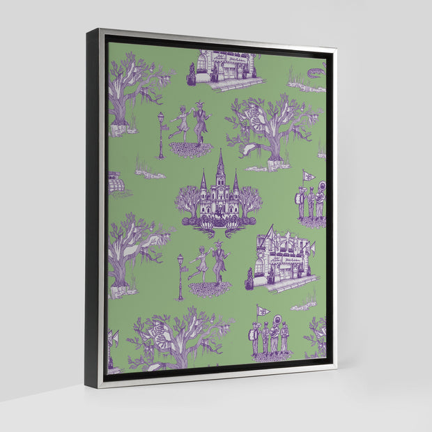 Gallery Prints Green/Lavender / 8x10 / Silver New Orleans Toile Canvas