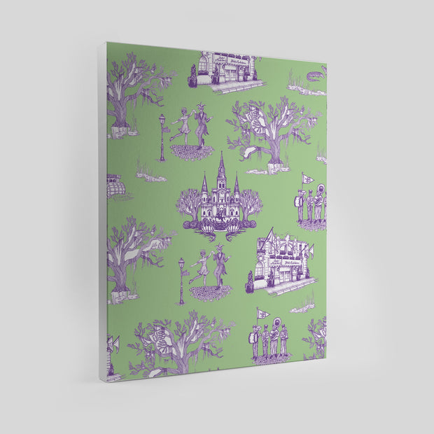 Gallery Prints Green/Lavender / 8x10 / Unframed New Orleans Toile Canvas
