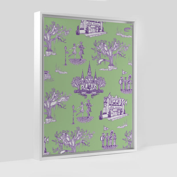 Gallery Prints Green/Lavender / 8x10 / White New Orleans Toile Canvas