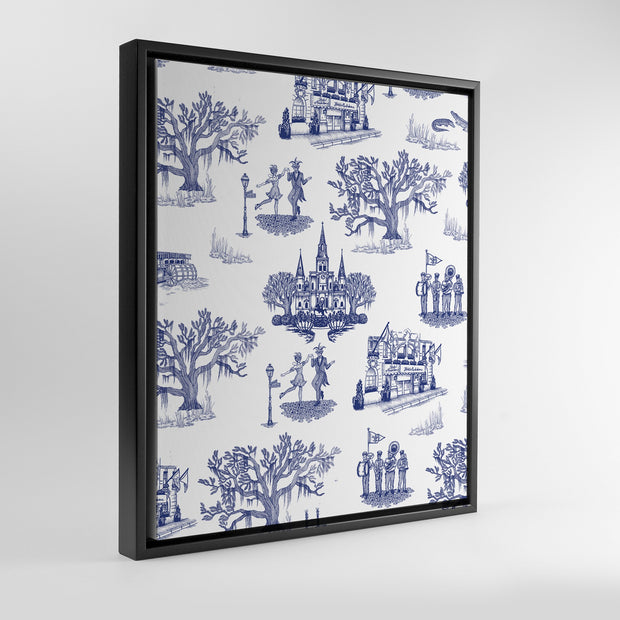 Gallery Prints Navy / 8x10 / Black New Orleans Toile Canvas