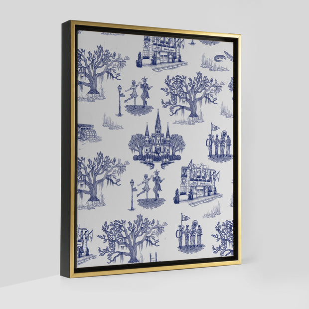 Gallery Prints Navy / 8x10 / Gold New Orleans Toile Canvas