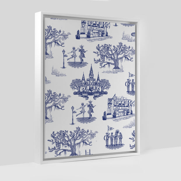 Gallery Prints Navy / 8x10 / White New Orleans Toile Canvas