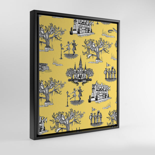 Gallery Prints Yellow / 8x10 / Black New Orleans Toile Canvas