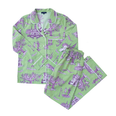 Pajama Set XS / Long Sleeve/Pant New Orleans Toile Pajama Set - Long Sleeve/Pants - Green/Lavender