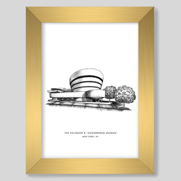Gallery Prints Black Print / 8x10 / Gold New York Guggenheim Print