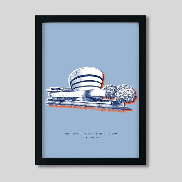 Gallery Prints Blue Print / 8x10 / Black New York Guggenheim Print