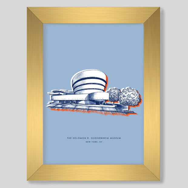 Gallery Prints Blue Print / 8x10 / Gold New York Guggenheim Print