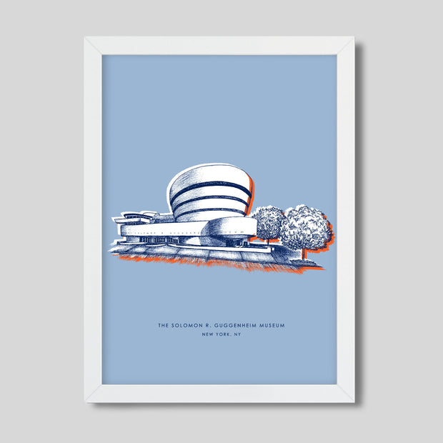Gallery Prints Blue Print / 8x10 / White New York Guggenheim Print