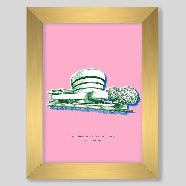 Gallery Prints Pink Print / 8x10 / Gold New York Guggenheim Print