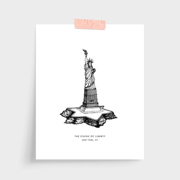 Gallery Prints Black Print / 5x7 / Unframed New York Statue of Liberty Print
